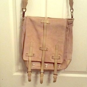Kenneth Cole White Suede 3 Buckle Messenger Bag
